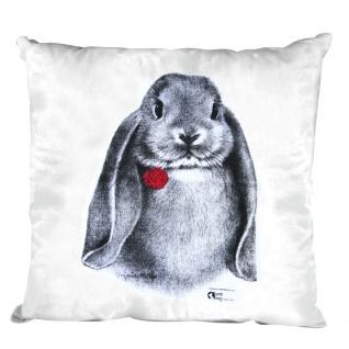 Kissen Dekokissen mit Print Hase Kaninchen Widder - K06971 weiß