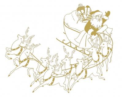 Wandtattoo Dekorfolie Weihnachtsmann mit Schlitten WD0813 - gold / 120cm