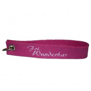 Filz-Schlüsselanhänger mit Stick Frl. Wunderbar Gr. ca. 17x3cm 14206 rosa