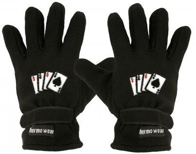 "(40385-56521) Fleece Handschuhe mit Einstickung "" KARTENSPIEL 4 ASSE"" Handschuhe"""