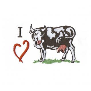 Aufnäher - Kuh mit Herz - 00223 - Gr. ca. 10 x 5, 5 cm - Patches Stick Applikation
