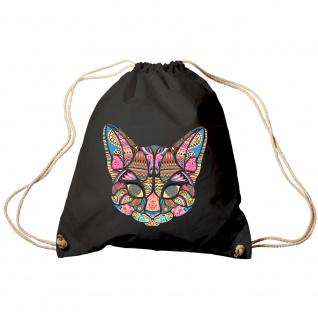 Trendbag Sporttasche Turnbeutel Print Katze Cat Mandala - 65139 versch. Farben schwarz