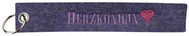 Filz-Schlüsselanhänger mit Stick - HERZKÖNIGIN - Gr. ca. 17x3cm - 14083 - Keyholder