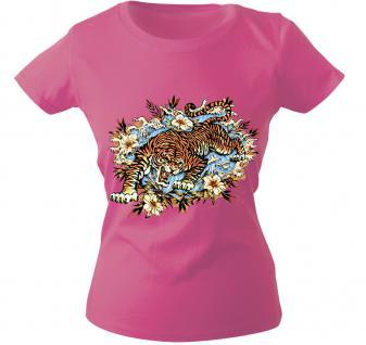 Girly-Shirt mit Print - Tiger - 10973 - versch. farben zur Wahl - Gr. S-XXL rosa / M