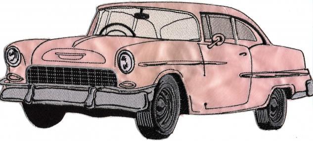 Rückenaufnäher - Oldtimer Cadillac rosa - 07310 - Gr. ca. 30 cm x 13 cm - Patches Stick Applikation