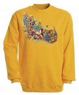 Sweatshirt mit Print - Trompete - S10283 - versch. farben zur Wahl - Gr. gelb / XXL