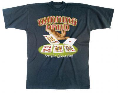T-Shirt unisex mit Print - Winning Hand - 09273 dunkelblau - Gr. S - Vorschau