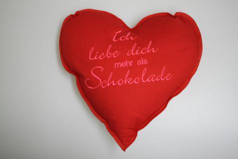 Herzkissen Kissen 36 cm Herz Muttertag ICH LIEBE DICH MEHR ALS SCHOKOLADE - 11410 - Dekokissen