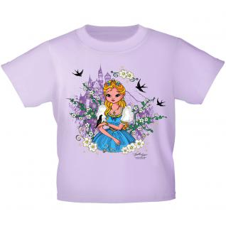 Kinder T-Shirt mit Glitzerprint - Prinzessin und Schloss - 12271 - flieder / 110/116