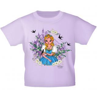 Kinder T-Shirt mit Glitzerprint - Prinzessin und Schloss - 12271 - flieder / 122/128