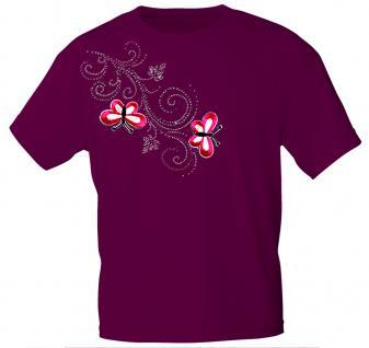 (12853) T- Shirt mit Glitzersteinen Gr. S - XXL in 16 Farben M / Bordeaux
