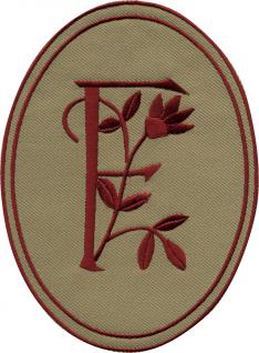 AUFNÄHER oval - Buchstabe F - Gr. ca. 10cm x 14cm (21537) Patches Stick Emblem Alphabet ABC