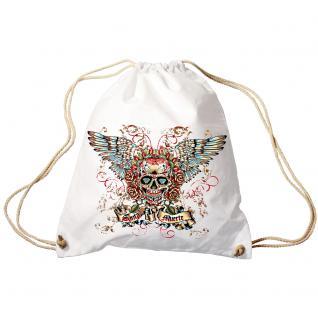 Trendbag Turnbeutel Sporttasche Rucksack mit Print - Totenkopf Skull Santa Muerte - TB65310 weiß