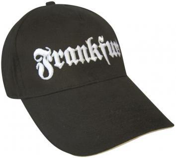 Baseball-Cap mit großer Stickerei - Frankfurt - 68893 schwarz - Baumwollcap Cappy Baseballcap Schirmmütze