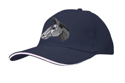 Baseballcap mit Esel - Stick - Esel Eselskopf - 69251 türkis navy rosa - Baumwollcap Hut Schirmmütze Cappy Cap
