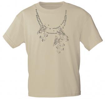(12852) T- Shirt mit Glitzersteinen Gr. S - XXL in 13 Farben L / beige