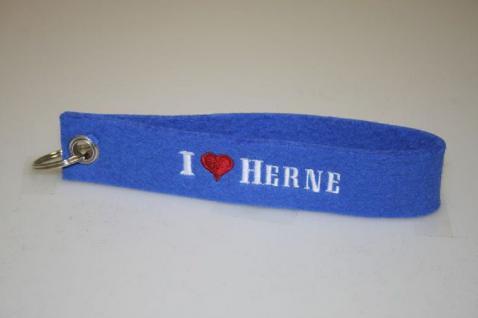 Filz-Schlüsselanhänger mit Stick - I love Herne - Gr. ca. 17x3cm - 14318