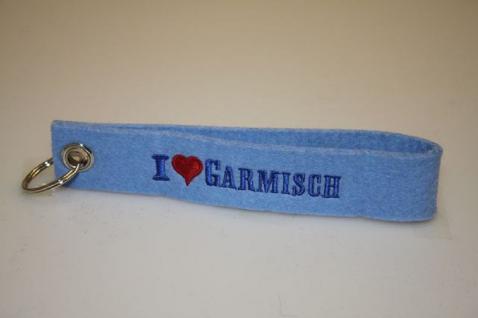 Filz-Schlüsselanhänger mit Stick I love Garmisch Gr. ca. 17x3cm 14315 blau