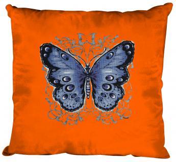 Kissen mit Print - Schmetterling Butterfly - Gr. ca. 40cm x 40cm incl. Füllung - K06992 hellblau
