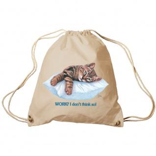Sporttasche Turnbeutel Trend-Bag Print Cat Katze ruhend auf Kissen - KA072/2 natur