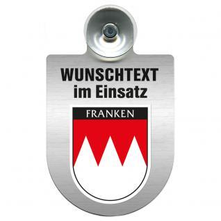 Einsatzschild für Windschutzscheibe incl. Saugnapf - Wunschtext...Eigener Text - Wappen nach Wahl - 309470 Region Franken