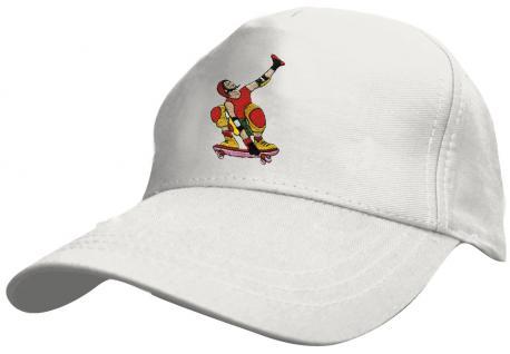 Kinder - Cap mit cooler Skater-Bestickung - Skateboard Skater - 69130-4 weiss - Baumwollcap Baseballcap Hut Cap Schirmmütze
