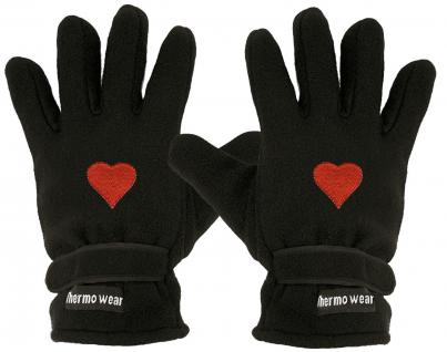 Handschuhe - Fleece - Herz - rot - 31506 - Vorschau