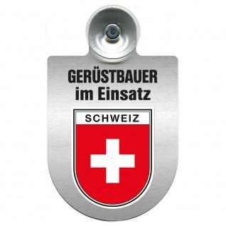 Einsatzschild Windschutzscheibe incl. Saugnapf - Gerüstbauer im Einsatz - 309724 Region Schweiz