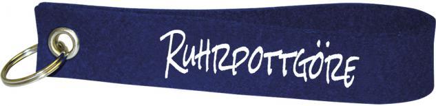 Filz-Schlüsselanhänger mit Stick Ruhrpottgöre Gr. ca. 17x3cm groß 14032 dunkelblau