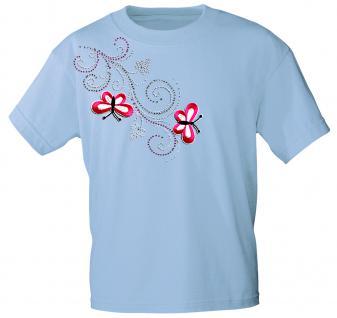 (12853) T- Shirt mit Glitzersteinen Gr. S - XXL in 16 Farben hellblau / L