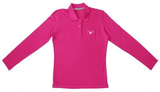 (TB361-pink) Langarm Pique Polo- SHIRT, Unisex, mit kleinem Stickmoriv ? Taube ? NEU Gr. S-XXL