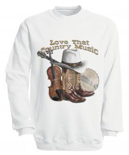 Sweatshirt mit Print - Country Music - S10256 - versch. farben zur Wahl - Gr. weiß / M