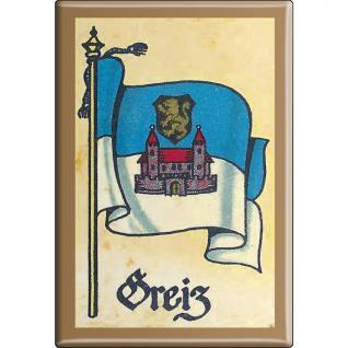 Küchenmagnet - Wappen Greiz - Gr. ca. 8 x 5, 5 cm - 37528 - Magnet Kühlschrankmagnet