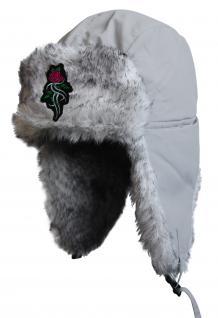 Chapka Fliegermütze Pilotenmütze Fellmütze in grau mit 28 verschiedenen Emblemen 60015 Tribal Rose