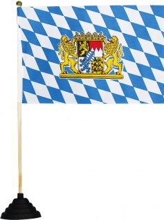 Tischflagge - Bayern Wappen - 07557 blau-weiß