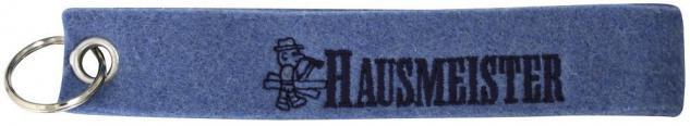 Filz-Schlüsselanhänger mit Stick HAUSMEISTER Gr. ca. 17x3cm 14136 Keyholder blau