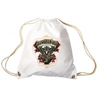 Sporttasche Turnbeutel Trend-Bag Print American Iron Biker Forever TB15701 weiß
