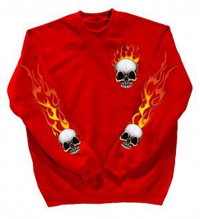 Sweatshirt mit Print - Totenkopf Fire - 10112 - versch. farben zur Wahl - rot / 4XL