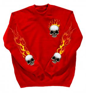 Sweatshirt mit Print - Totenkopf Fire - 10112 - versch. farben zur Wahl - rot / XL