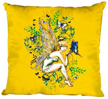 Dekokissen mit Print - Elfe Fee - Größe ca. 40 x 40 cm K10972 gelb