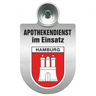 Einsatzschild Windschutzscheibe incl. Saugnapf - Apothekendienst im Einsatz - 309397-15 Region Hamburg
