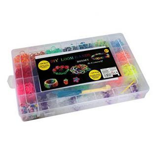 LOOM- Bänder Boxset - mit 4200 Bänder + Anhänger, Würfel, Knüpfhaken, Clips, Webrahmen 23810A