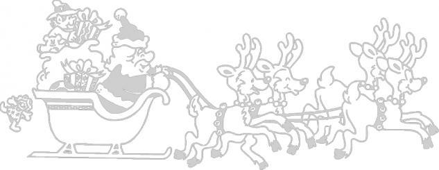 Wandtattoo Dekorfolie Weihnachtsmann mit Schlitten WD0807 - silber / 90cm