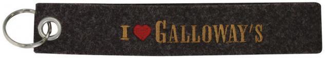 Filz-Schlüsselanhänger mit Stick - I love Galloways - Gr. ca. 17x3cm - 14164