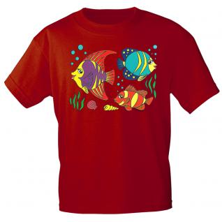Kinder Marken-T-Shirt mit Motivdruck in 12 Farben Fische K12779 rot / 98/104