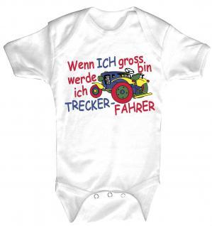 Babystrampler mit Print - Wenn ich groß bin werde ich Trecker-Fahrer - 08310 weiß - 6-12 Monate