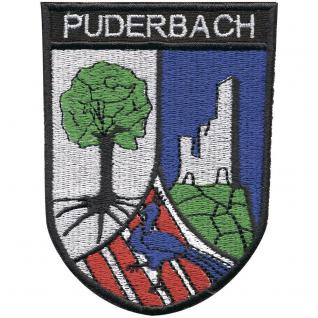 AUFNÄHER - Wappen - Puderbach - 00349 - Gr. ca. 9 x 6, 5 cm - Patches Stick Applikation