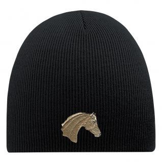 Beanie Mütze Pferdekopf Haflinger 54861 Schwarz
