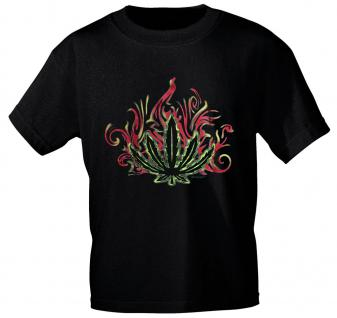 T-Shirt mit Print - Hanf- Feuer - 09543 schwarz - Gr. L
