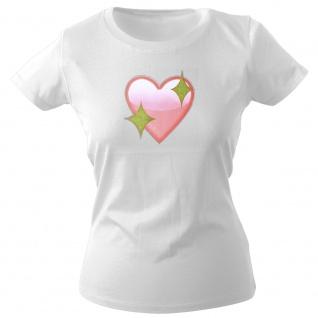 Girly-Shirt mit Print | Glitzerherz Herz | 12976 | Gr. weiß / XS